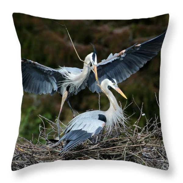 Great Blue Herons Nesting Throw Pillow by Sabrina L Ryan