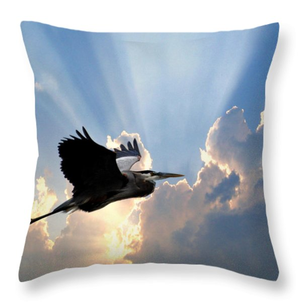 Great Blue In Flight 9 Throw Pillow by Marty Koch