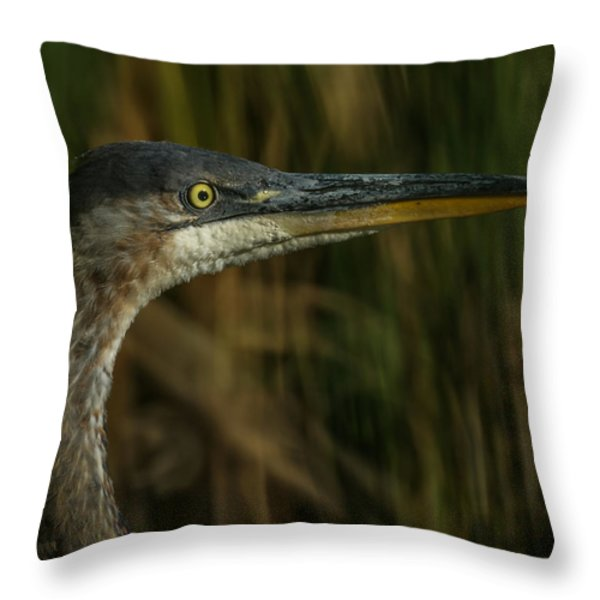 Great Blue Profile Throw Pillow by Ernie Echols