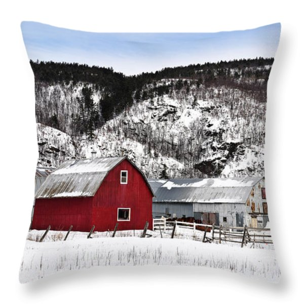 Great Canadian Red Barn In Winter Throw Pillow by Peter v Quenter