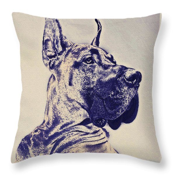 great dane- blue sketch Throw Pillow by Jane Schnetlage