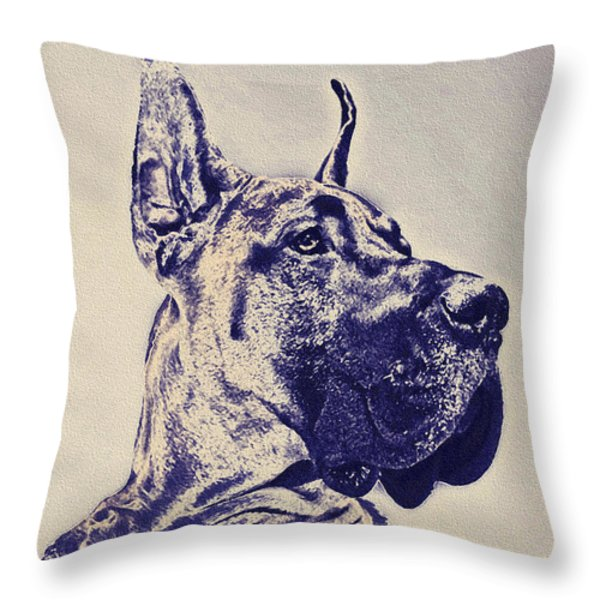 great dane- blue sketch Throw Pillow by Jane Schnetlage
