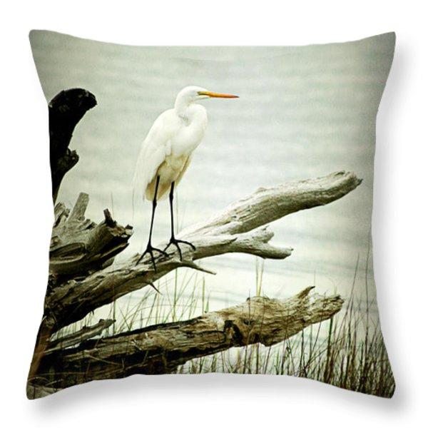 Great Egret on a Fallen Tree Throw Pillow by Joan McCool
