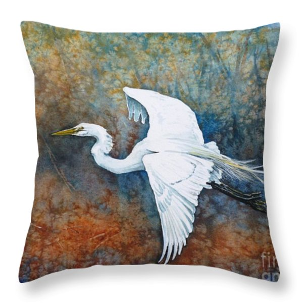 Great Egret  Throw Pillow by Zaira Dzhaubaeva