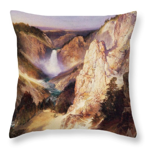 Great Falls Of Yellowstone Throw Pillow by Thomas Moran