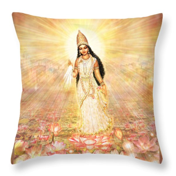 Great Mother Goddess in a Higher Dimension Throw Pillow by Ananda Vdovic