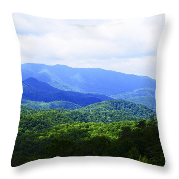 Great Smoky Mountains Throw Pillow by Christi Kraft