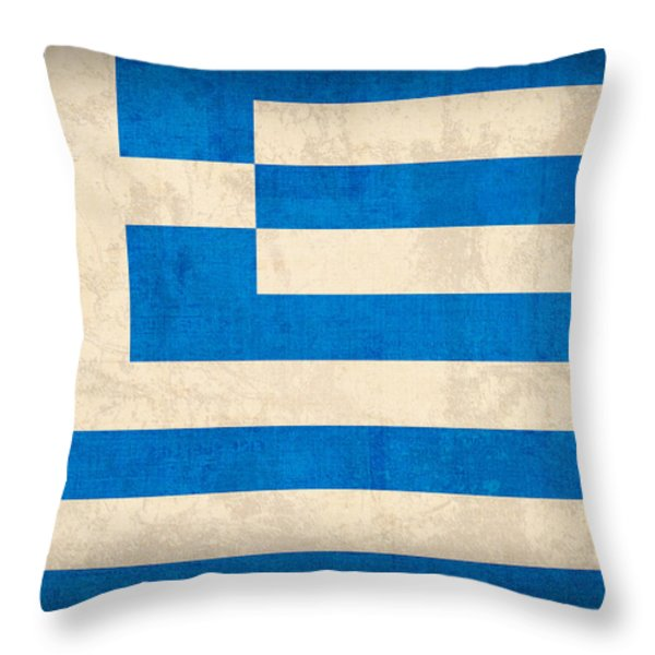 Greece Flag Vintage Distressed Finish Throw Pillow by Design Turnpike