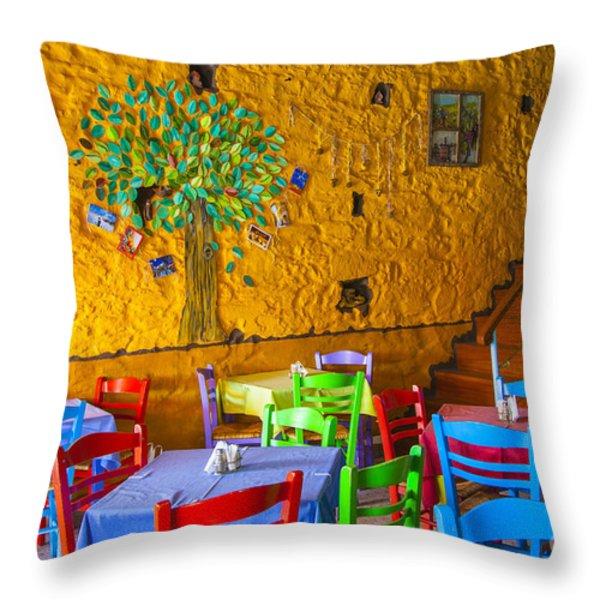 Greek Taverna Throw Pillow by Eleni Mac Synodinos