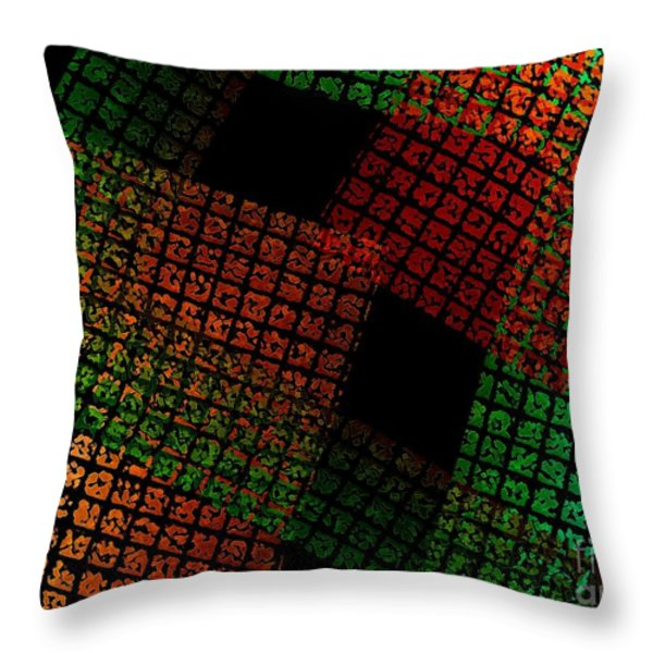 Green And Red Square  Throw Pillow by Mario  Perez