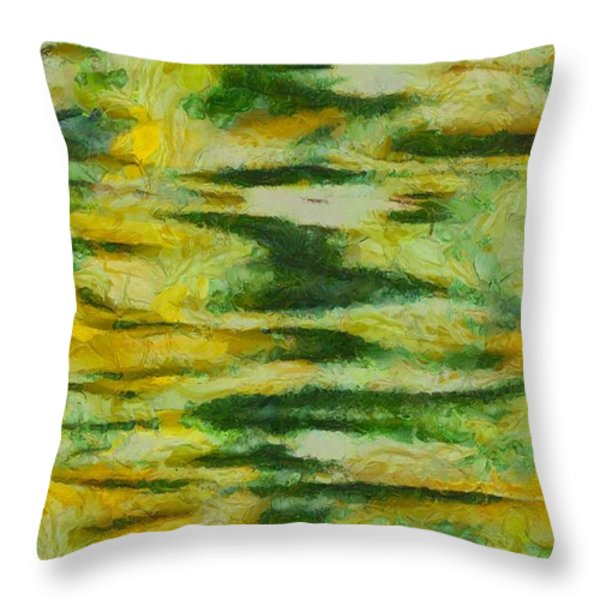 Green And Yellow Abstract Throw Pillow by Dan Sproul