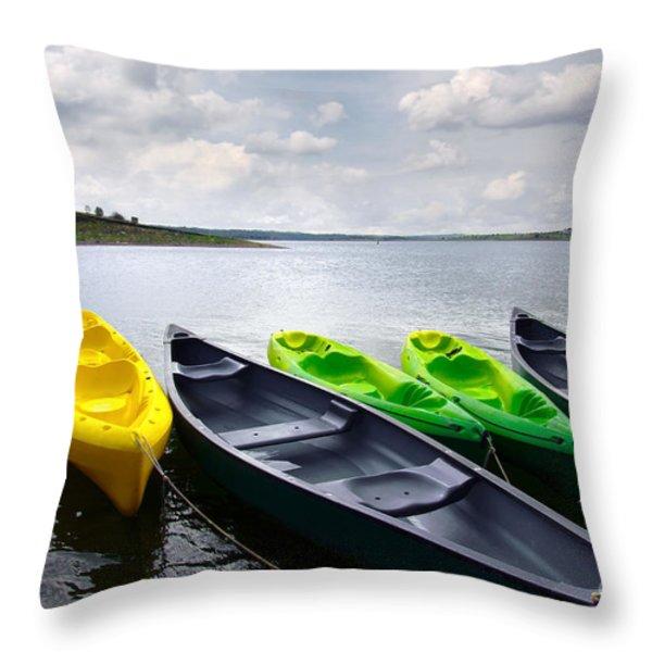 Green And Yellow Kayaks Throw Pillow by Carlos Caetano