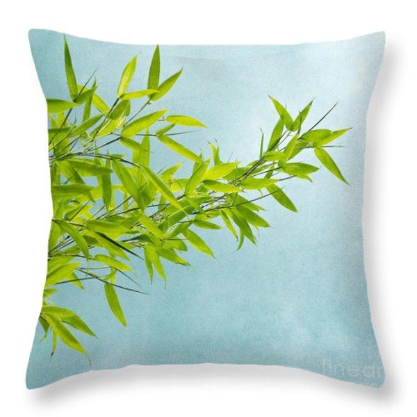 green bamboo Throw Pillow by Priska Wettstein