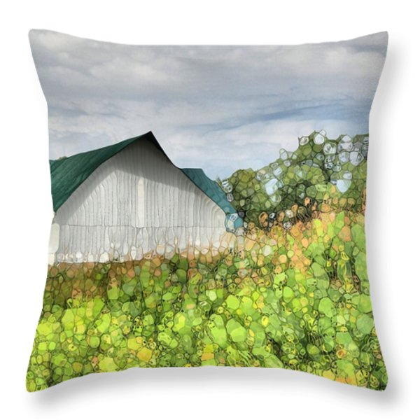 Green Barn And Cornfield Throw Pillow by Dan Sproul