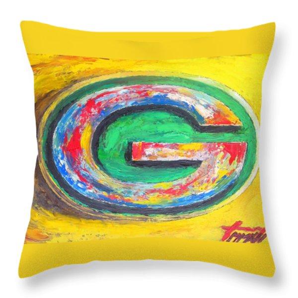 Green Bay Packers Football Throw Pillow by Dan Haraga
