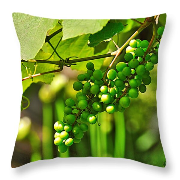 Green Berries Throw Pillow by Kaye Menner