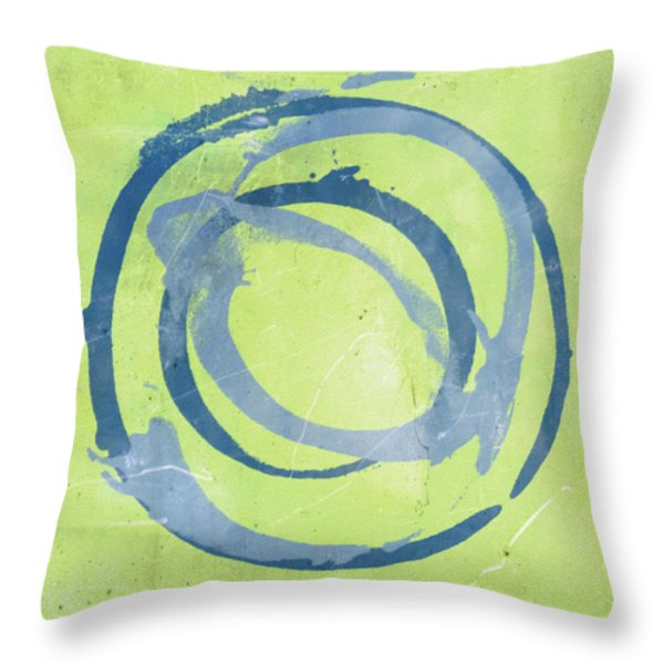 Green Blue Throw Pillow by Julie Niemela