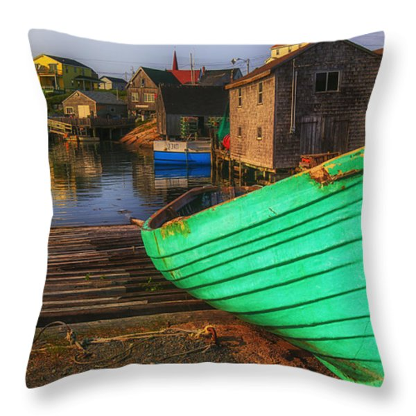 Green Boat Peggys Cove Throw Pillow by Garry Gay