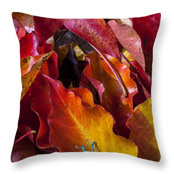 Green bug Throw Pillow by Garry Gay