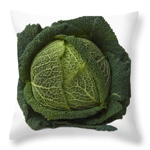 Green Cabbage Throw Pillow by Bernard Jaubert