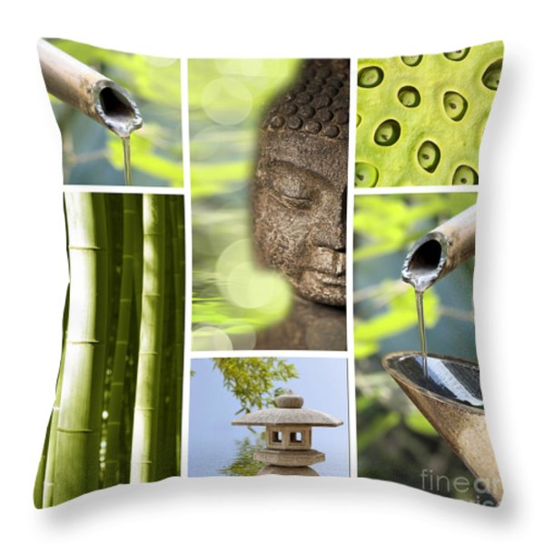 Green Collage Throw Pillow by Delphimages Photo Creations