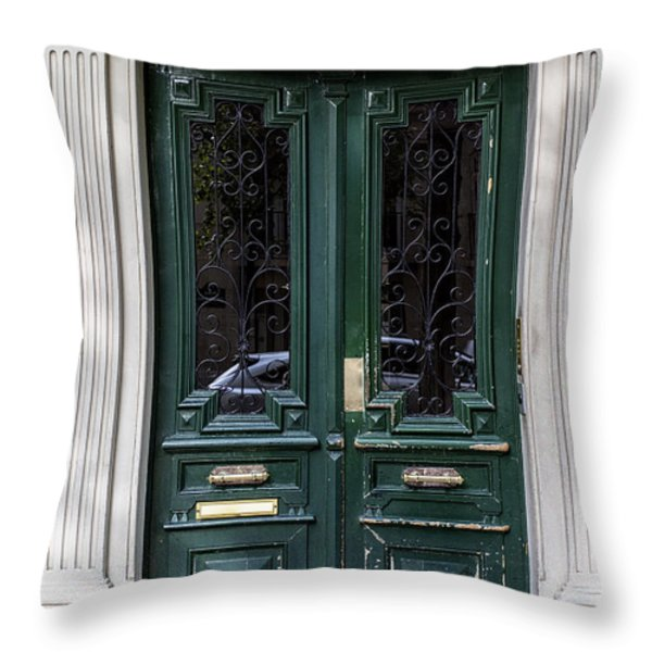 Green Door In Paris Throw Pillow by Nomad Art And  Design