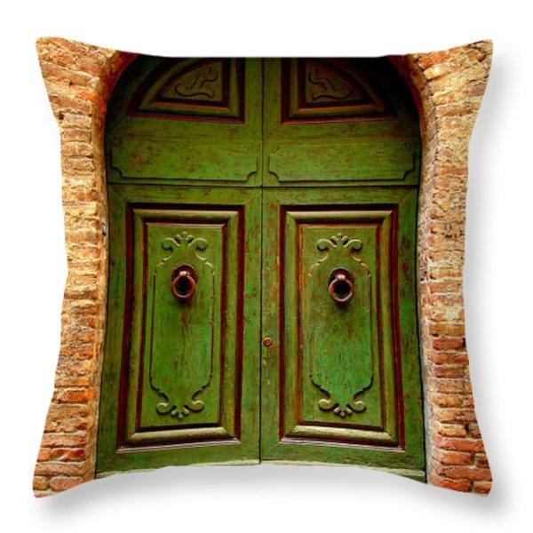 Green Door Throw Pillow by Ramona Johnston