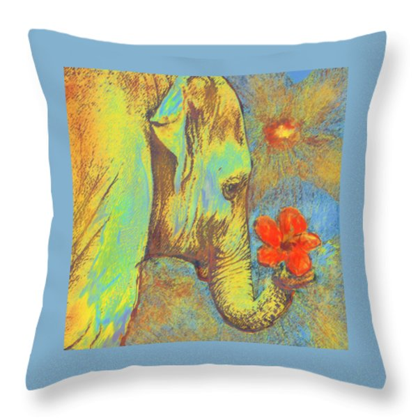 green elephant Throw Pillow by Jane Schnetlage