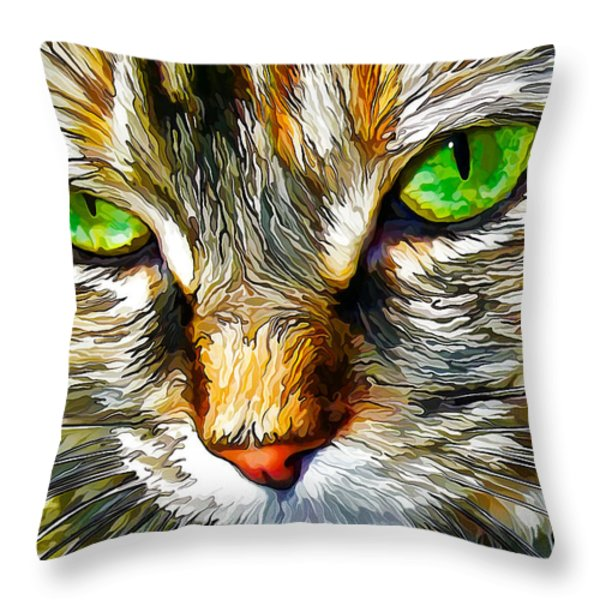 Green-Eyed Monster Throw Pillow by Bill Caldwell -        ABeautifulSky Photography