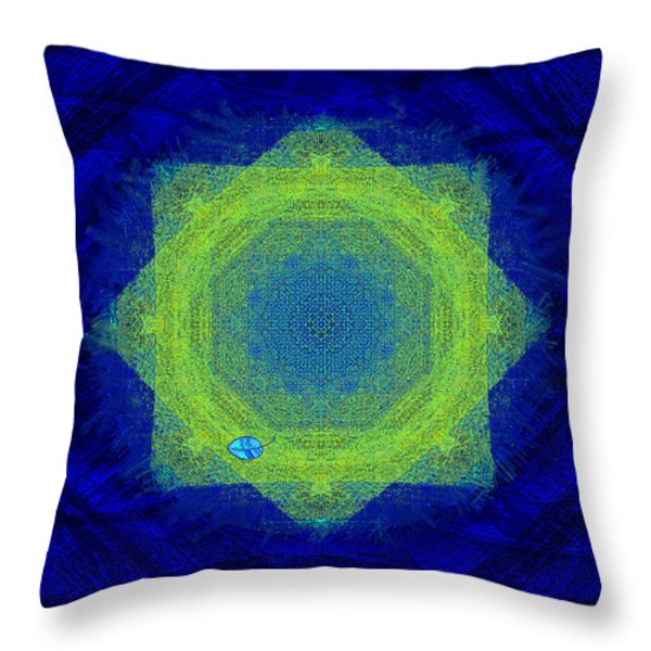 Green Eyed Weave Throw Pillow by Mathilde Vhargon