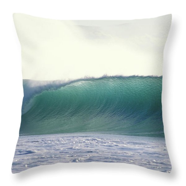 Green Feather Throw Pillow by Sean Davey