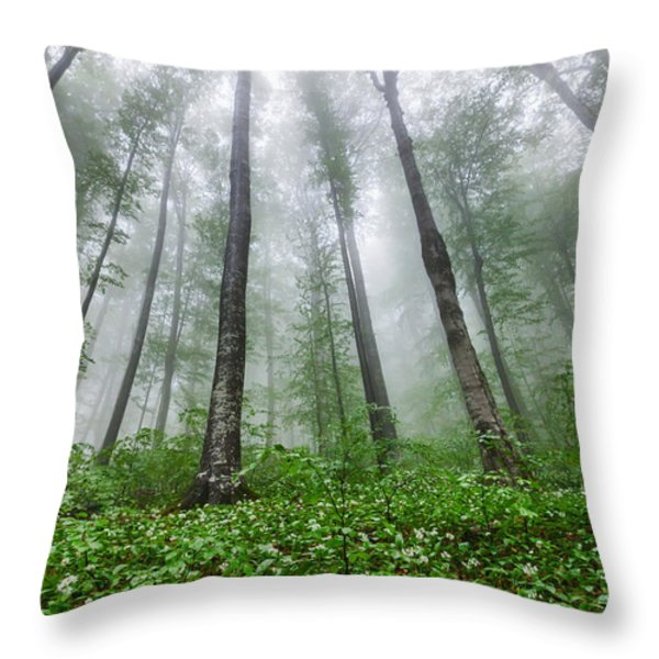 Green Giants Throw Pillow by Evgeni Dinev