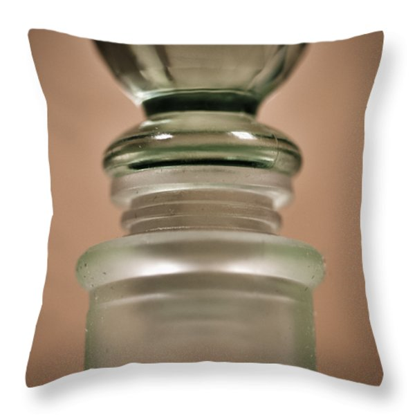 Green Glass Bottle Throw Pillow by Christi Kraft
