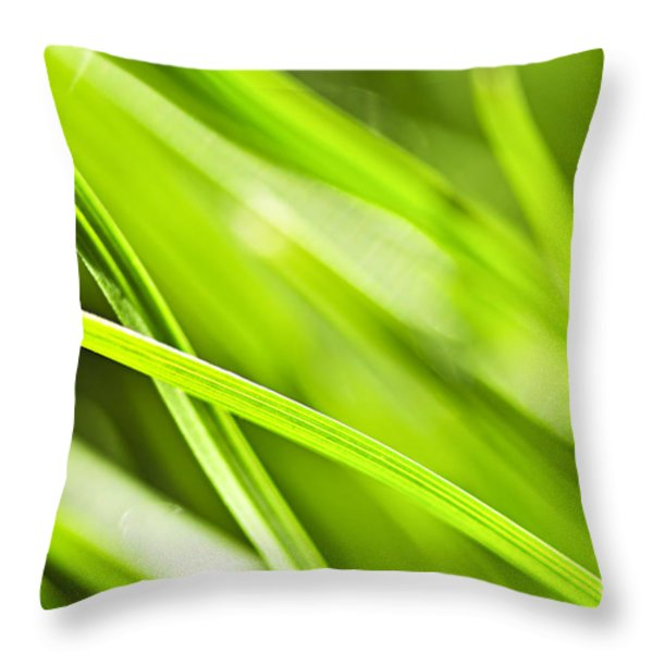 Green grass abstract Throw Pillow by Elena Elisseeva