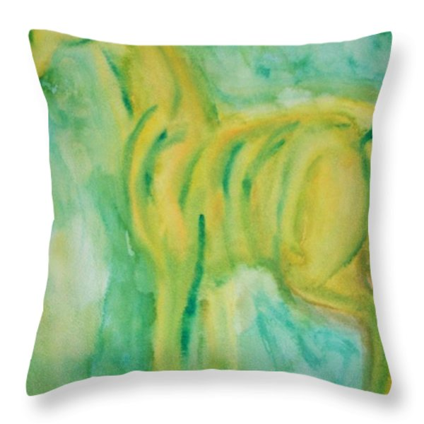 green hope Throw Pillow by Hilde Widerberg