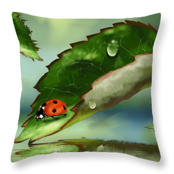 Green Leaf Throw Pillow by Veronica Minozzi