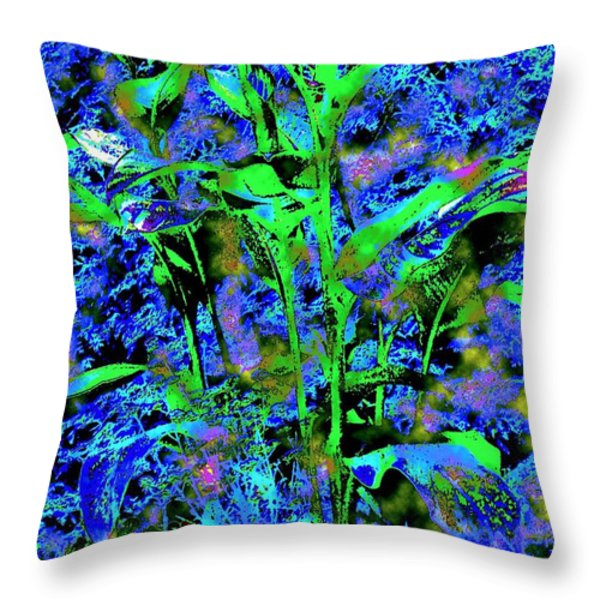 Green Leafy Plant Bathed In Blue Throw Pillow by Annie Zeno
