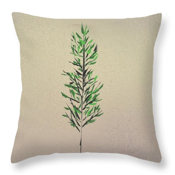 Green Leaves Throw Pillow by John Krakora
