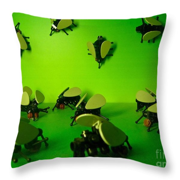 Green Lego Flies Throw Pillow by Amy Cicconi
