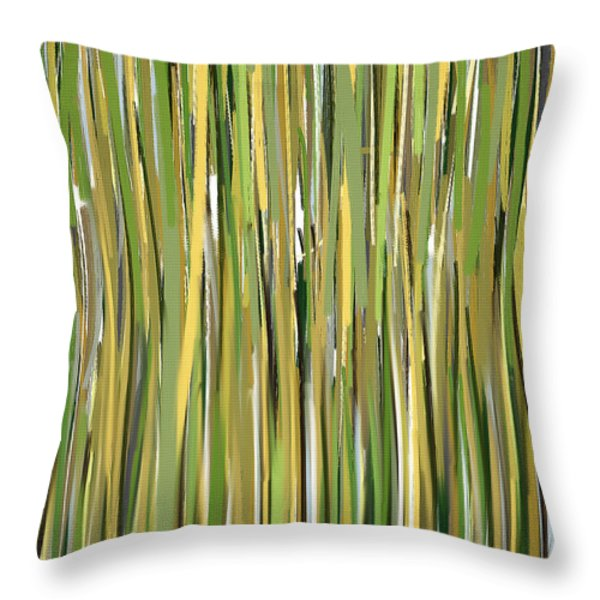 Green Melodies Throw Pillow by Lourry Legarde