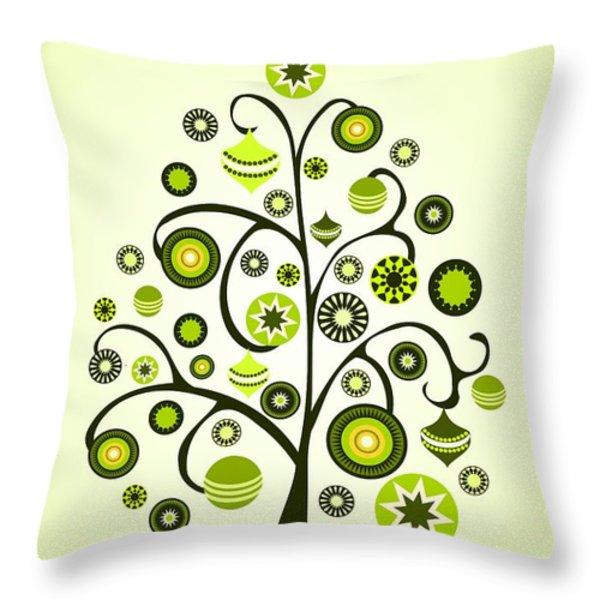 Green Ornaments Throw Pillow by Anastasiya Malakhova