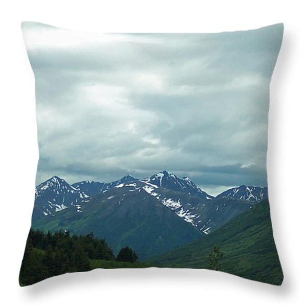 Green Pastures And Mountain Views Throw Pillow by Aimee L Maher Photography and Art