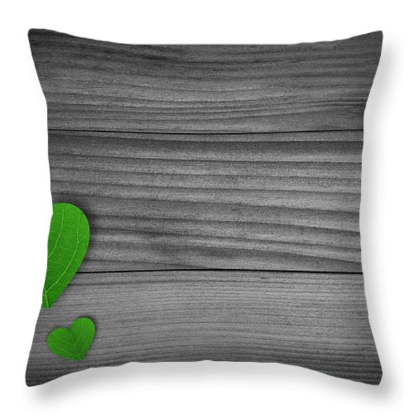 Green Pedal shaped hearts Throw Pillow by Aged Pixel