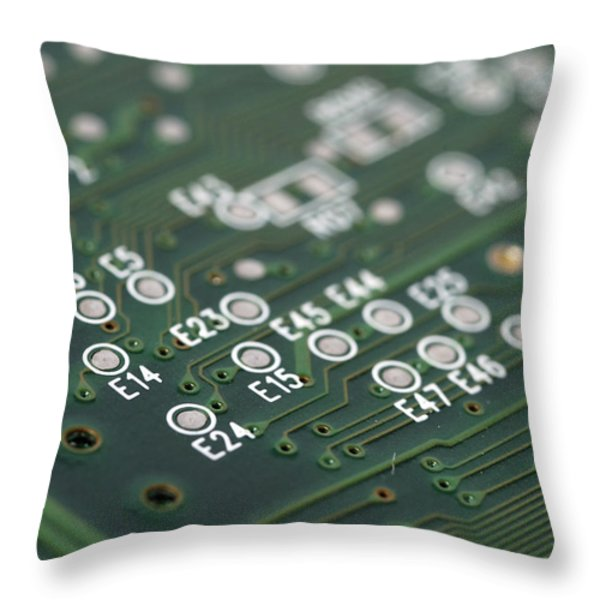 Green Printed Circuit Board Closeup Throw Pillow by Matthias Hauser