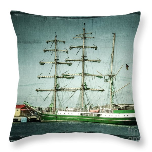 Green Sail Throw Pillow by Perry Webster