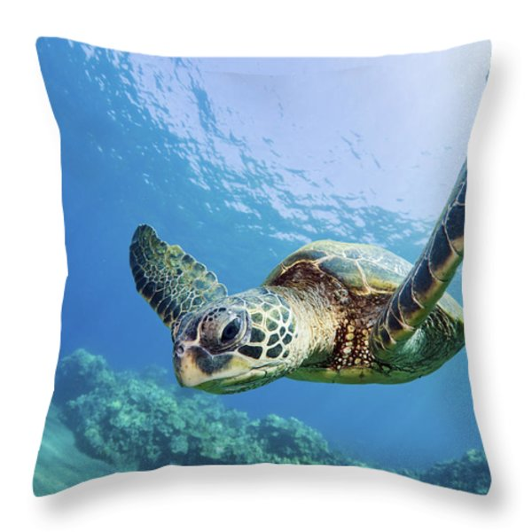 Green Sea Turtle - Maui Throw Pillow by M Swiet Productions