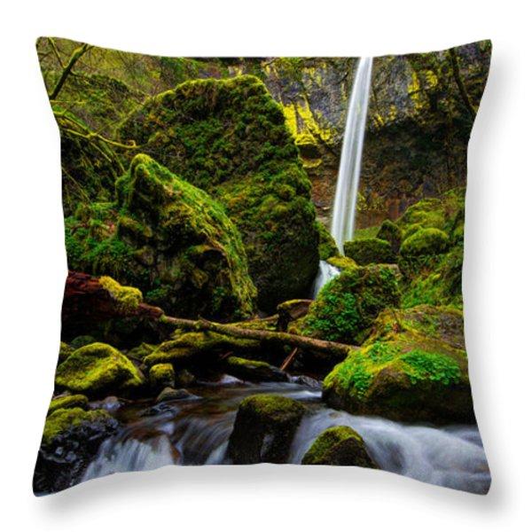 Green Seasons Throw Pillow by Chad Dutson