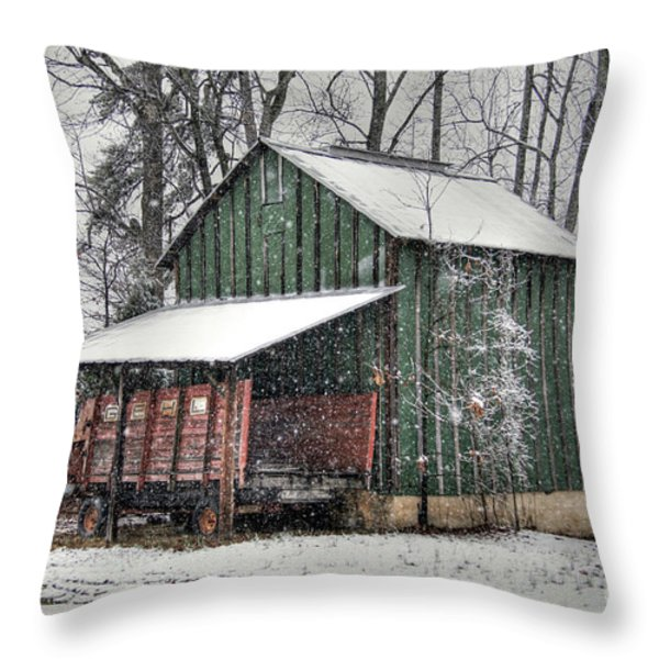 Green Tobacco Barn Throw Pillow by Benanne Stiens