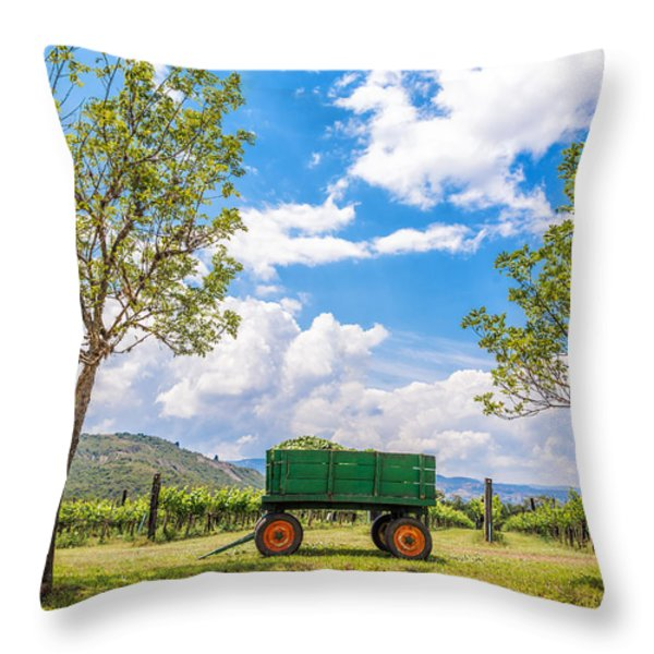 Green Wagon and Vineyard Throw Pillow by Jess Kraft