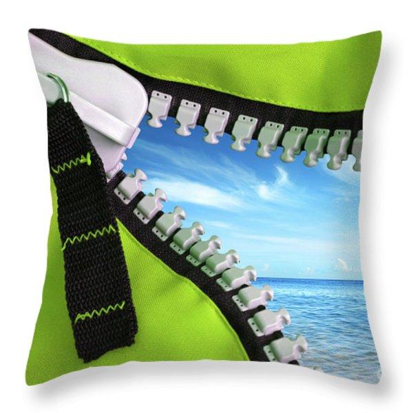 Green Zipper Throw Pillow by Carlos Caetano